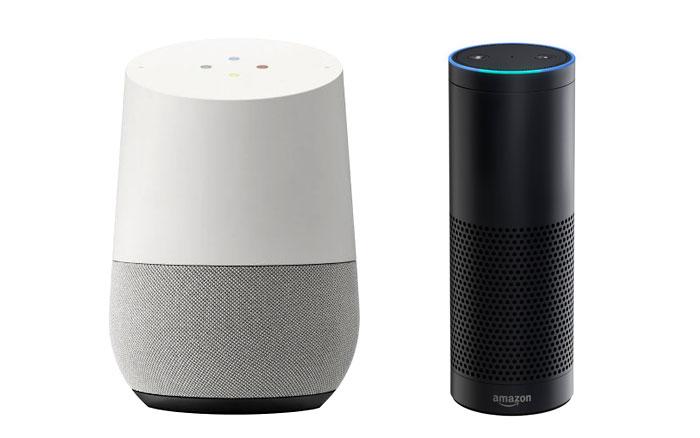 «Умный динамик» Google Home / Чёрный цилиндр Amazon Echo.
