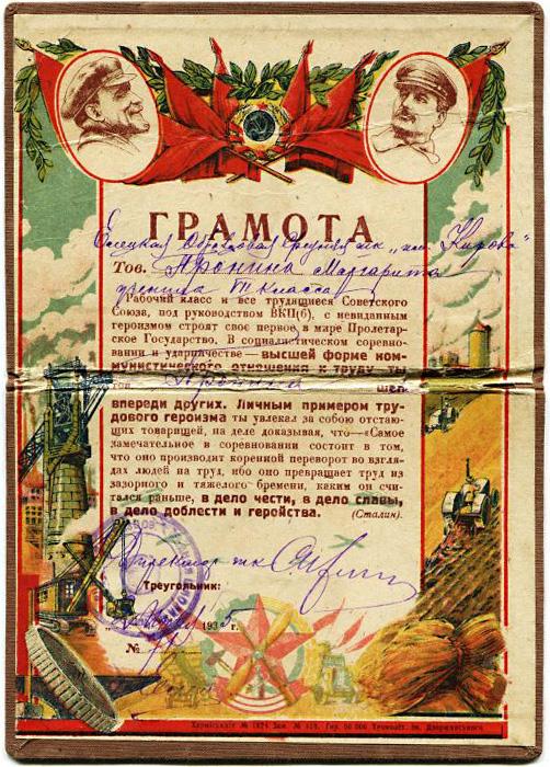 Советская грамота за достижения в труде, 1935 год