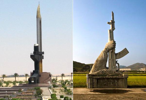 Памятники автомату Калашникова в Египте и в КНДР.