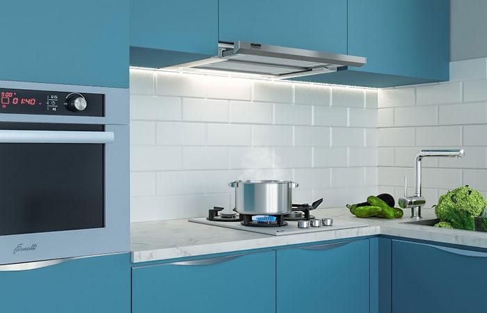Вытяжка для кухни Krona KAMILLA slim в интерьере.