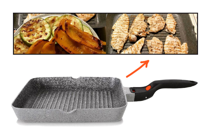 Посуда FISSMAN: квадратная сковорода - гриль La Granite со съемной ручкой.