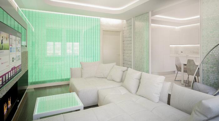 LED-подсветка потолка, пола и стен.