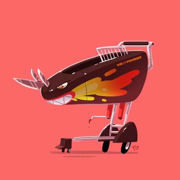 Шаржи-иллюстрации, посвященные  машинам из культовых кинофильмов