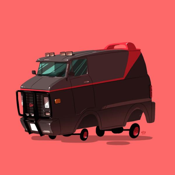 Шаржи-иллюстрации на тему  машин из культовых кинофильмов