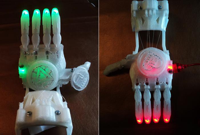 Детский протез в виде светящейся руки распечатан на 3D-принтере
