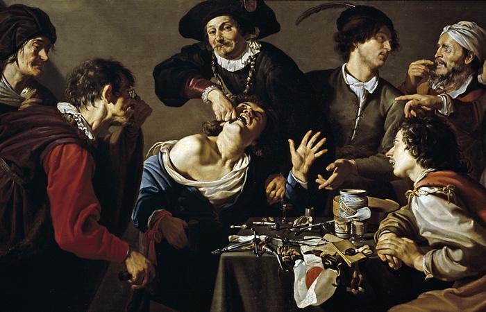 Фрагмент картины Теодора Ромбоутса 'Удаление зуба', XVII в.