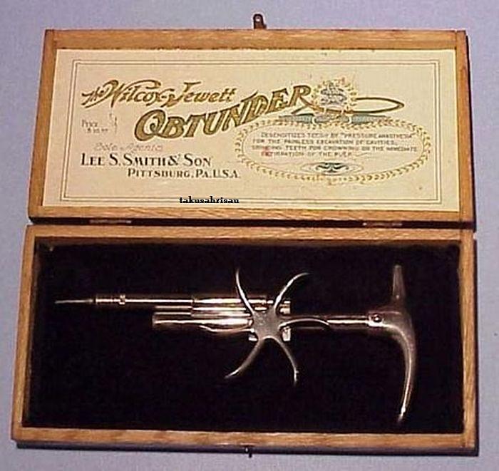 Пародонтальный шприц Уилкокс-Джеветта для оральных инъекций обезболивающего.