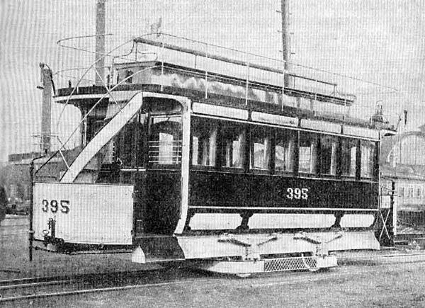 Закрытый пароконный вагон городской конно-железной дороги. Списан после 1914 года.