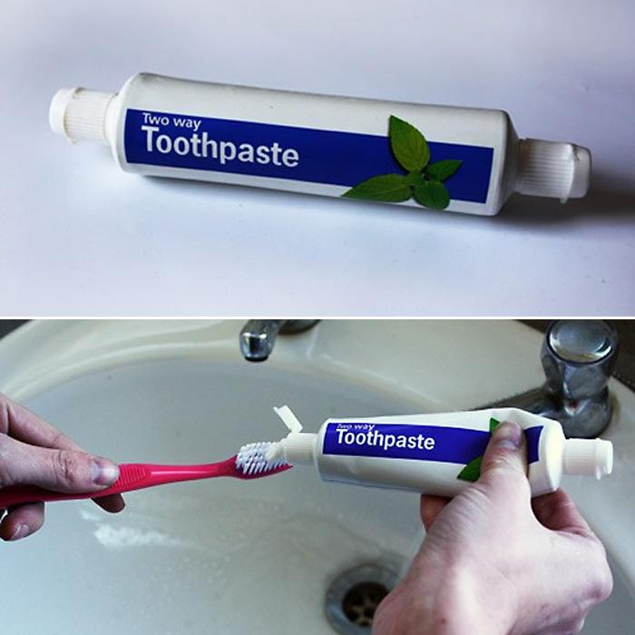 Зубная паста, тюбик которой откручивается с двух сторон.