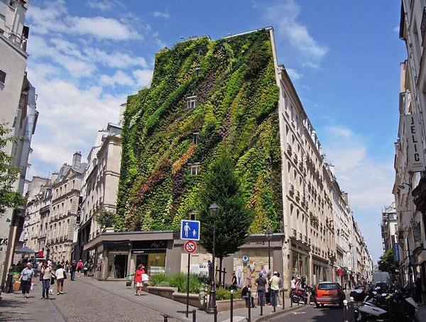 Парижское здание с вертикальным садом