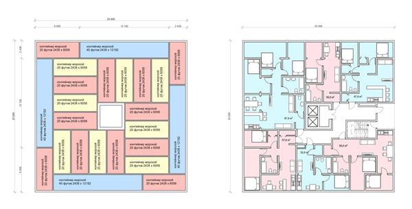 схема расстановки контейнеров и план этажа