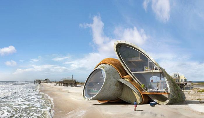 Этот дом-крепость дизайнер возвел на пляже в Северном Квинсленде (Австралия), где жители не по наслышке знают, что такое ураган.