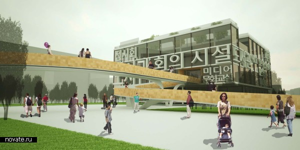 Вид с парковой зоны на библиотеку