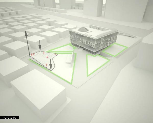 Взаимосвязь амфитеатра (рельефа) с парковой структурой