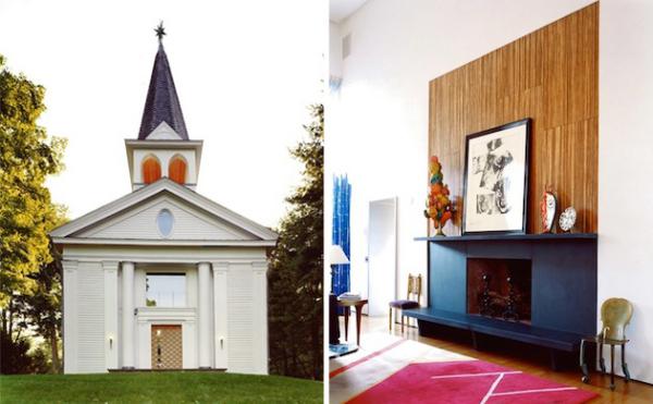 Эклектичный интерьер жилого дома в здании бывшей баптистской церкви 19-го века