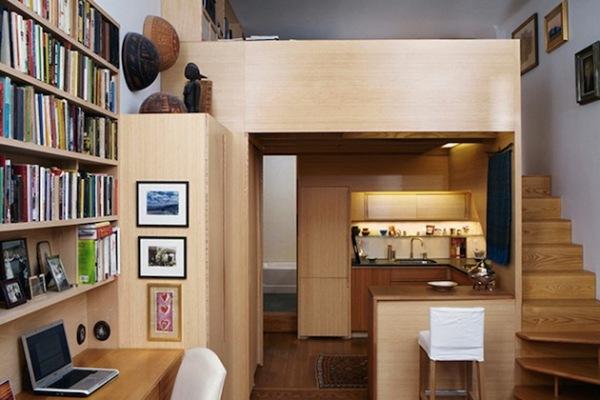New York City Space – маленькая нью-йоркская квартира с библиотекой
