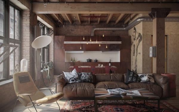 Den-loft: холостяцкая квартира в индустриально-винтажном стиле