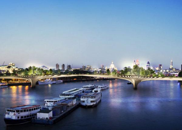 Футуристический пешеходный мост-сад через Темзу в Лондоне