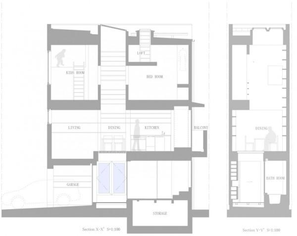 House in Nada - очень узкий жилой дом от Fujiwarramuro Architects