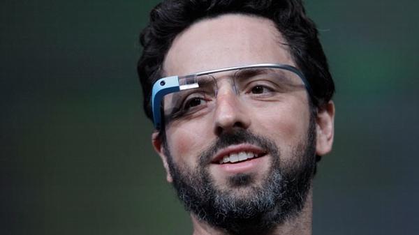 Сергей Брин на презентации Google Glass