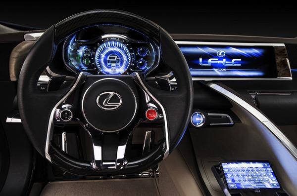 Футуристическая панель гибрида Lexus LF-LC Concept. Уже через год в продажу поступит несколько автомобилей с такими панелями.
