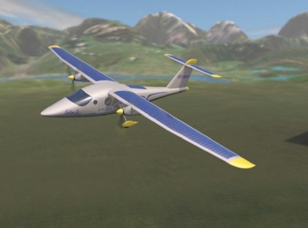 Самолёт с солнечными батареями на крыльях