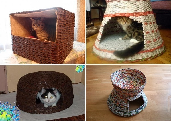 Кошкин дом из газетных трубочек.