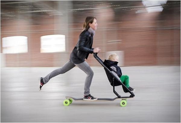 Скейтборд + детская коляска = Longboard Quinny