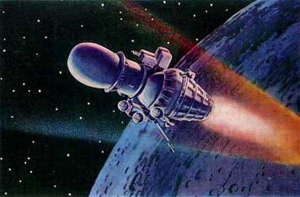 Луна-4С на рисунке советского художника-фантаста А. Соколова.