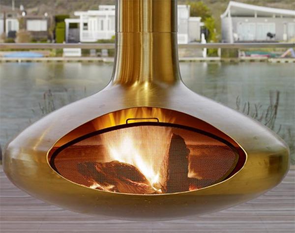 Камин FireOrb в золотистом цвете