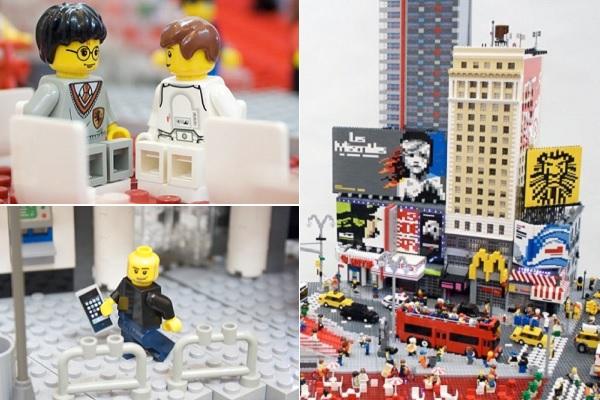 Макет Times Square, собранный из Лего