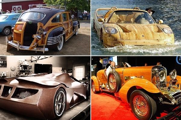 Деревянные автомобили из прошлого и настоящего времени
