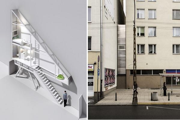 Keret House: вид 'в разрезе' и вид с улицы