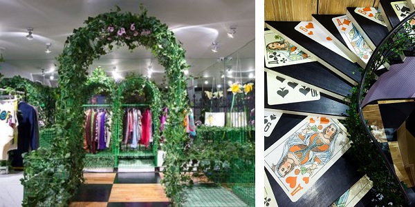 Интерьер магазина Mood Swings Apartment Store в стиле Алисы в стране чудес
