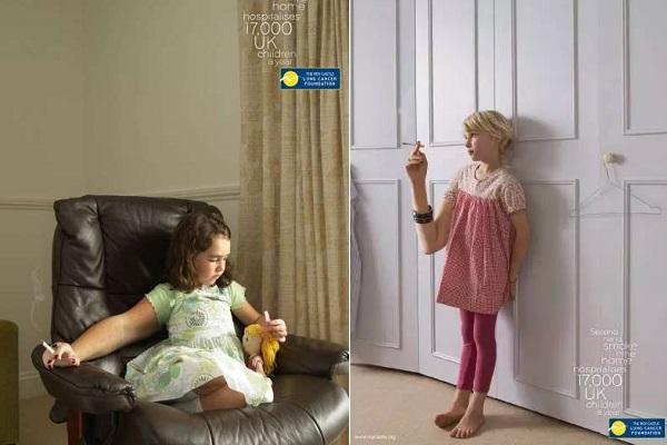 Креативная социальная реклама против курения школьников и безответственных родителей