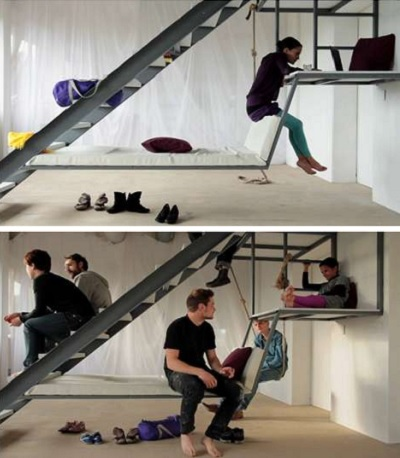 Ascending Retreat Expresses - лестница-спальное пространство от Thiemo Hildebrandt