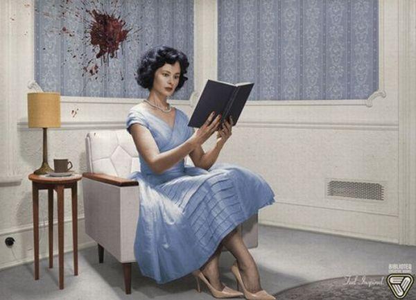 Креативная реклама чтения от Bibliotheque