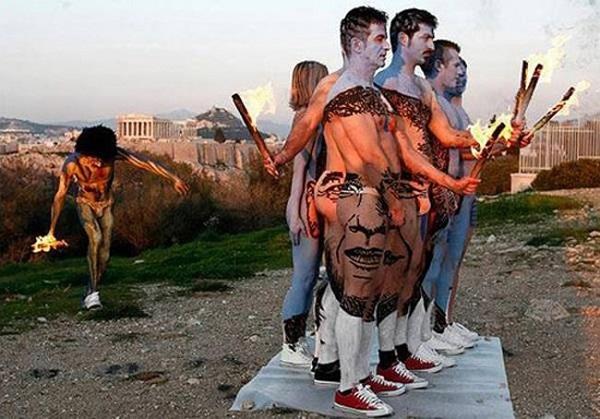 Бодиарт в честь Барака Обамы от Felice Varini