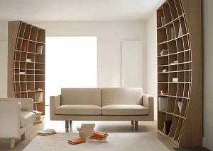 Выгнутый шкаф Concave Bookcase - оптическая иллюзия в работе Simon Pengelly