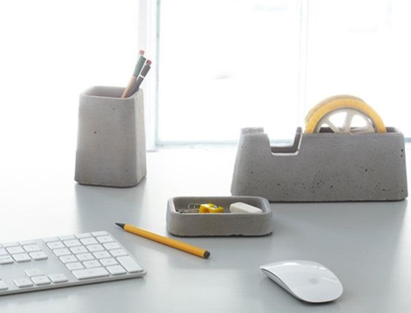 Бетонные канцелярские принадлежности Cool Concrete Desk Accessories от DigsDigs