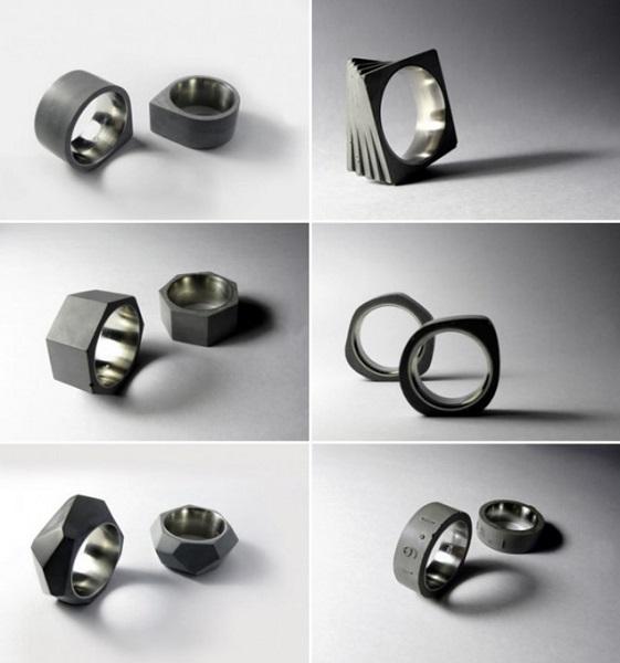 Брутальные кольца из бетона и нержавеющей стали от 22 Design Studio