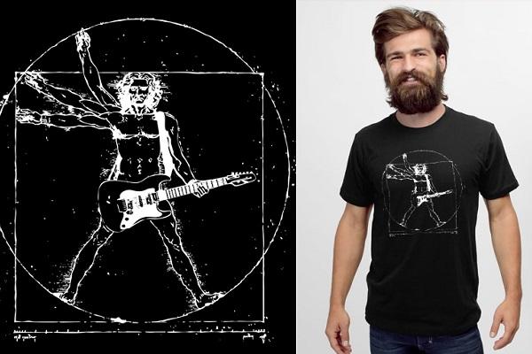 Da Vinci rock man - забавная футболка с осовремененным рисунком Да Винчи от Headline Shirts