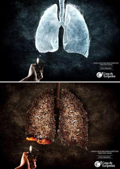 Креативная социальная реклама против курения из серии Casa de Euripedes