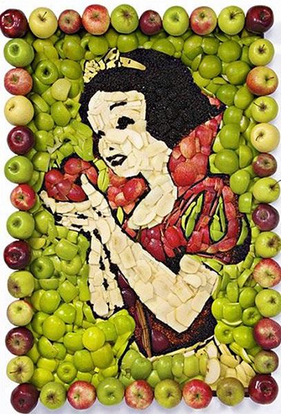 Яблочный портрет Белоснежки от Prudence Staite