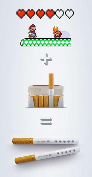 Креативная социальная реклама против курения в стиле ретро-игры 'Марио'