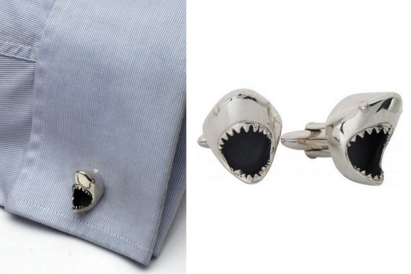 Great White Shark cufflinks - запонки для хищников от Zaunick