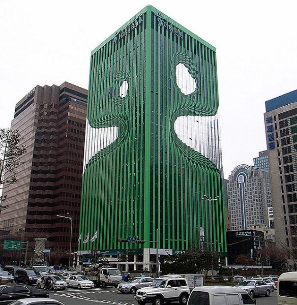 Необычное здание банка Hana Bank в Южной Корее