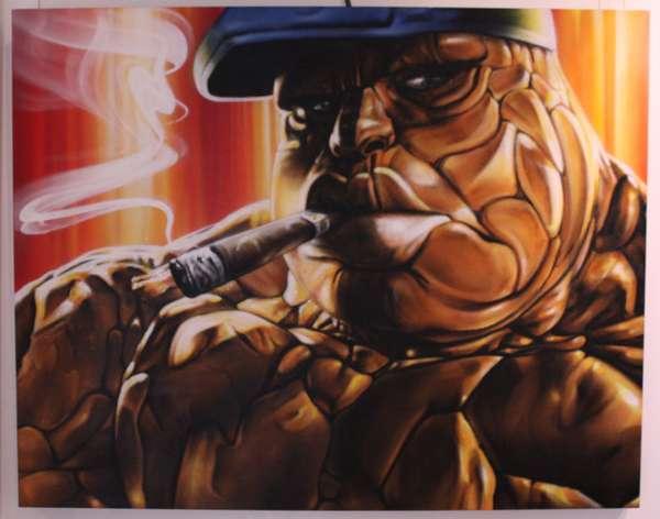 Хип-хоп-исполнитель в образе Thing из Fantastic four