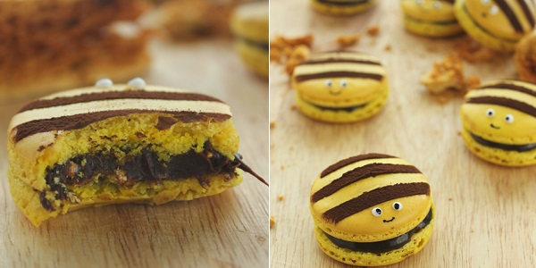 Пирожные макарони в виде пчелок, испеченные в домашних условиях