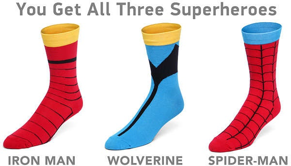 Супергеройские носки Marvel Superhero Socks